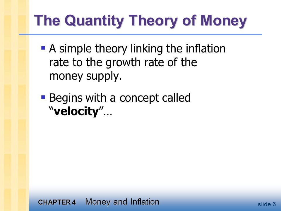 Velocity basic concept: the rate at which money circulates
