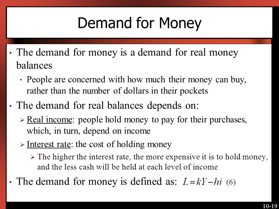 Demand for Money The demand for money is a demand for real money balances.