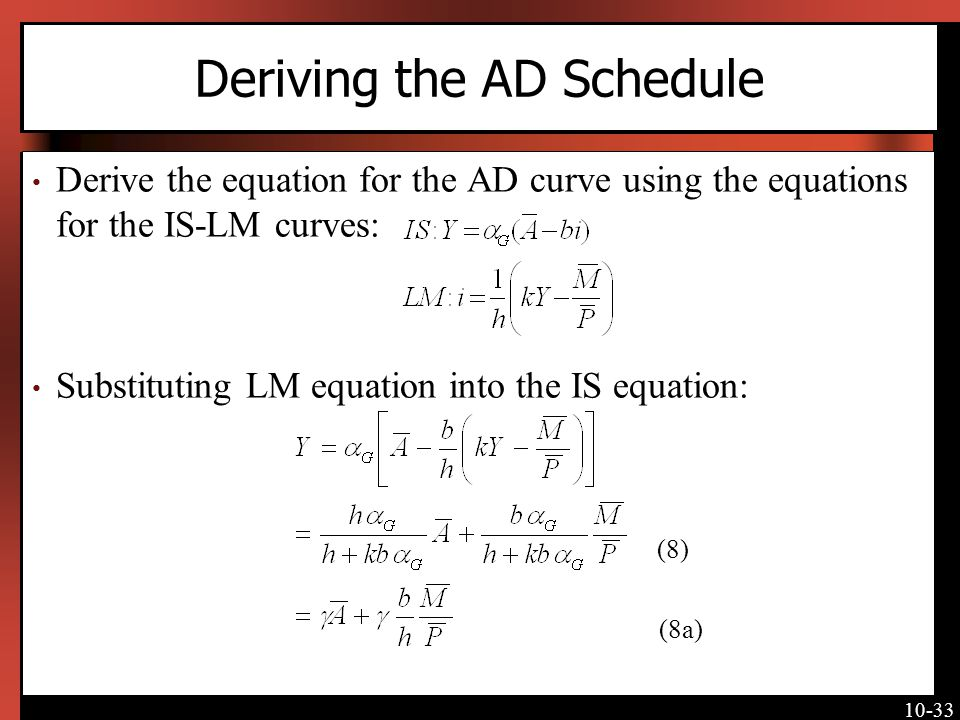 Deriving the AD Schedule