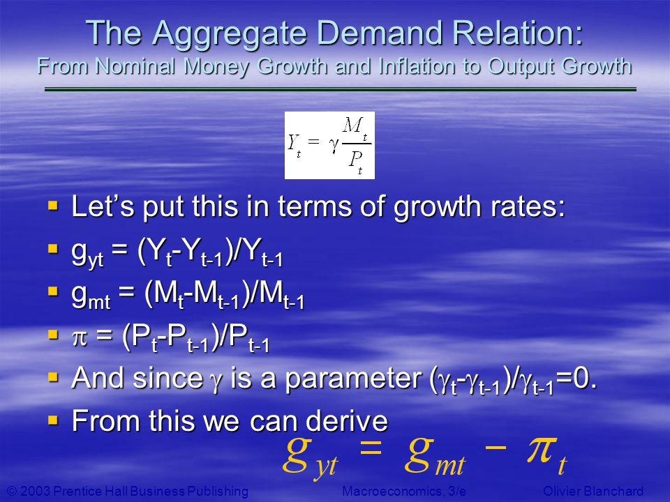 The Aggregate Demand Relation: From Nominal Money Growth and Inflation to Output Growth