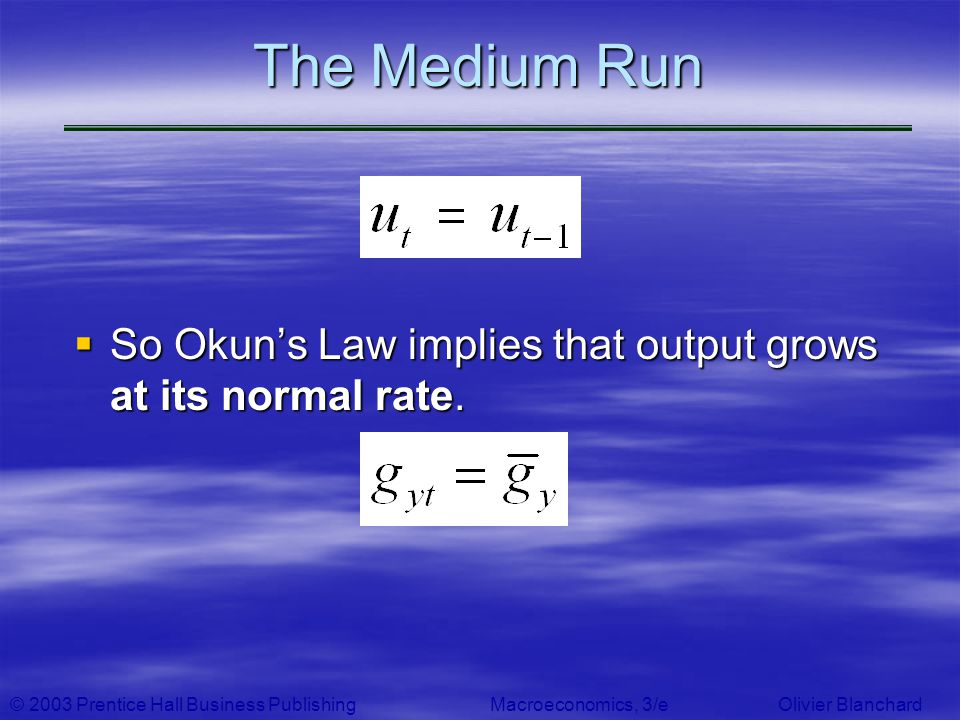 The Medium Run So Okun's Law implies that output grows at its normal rate.