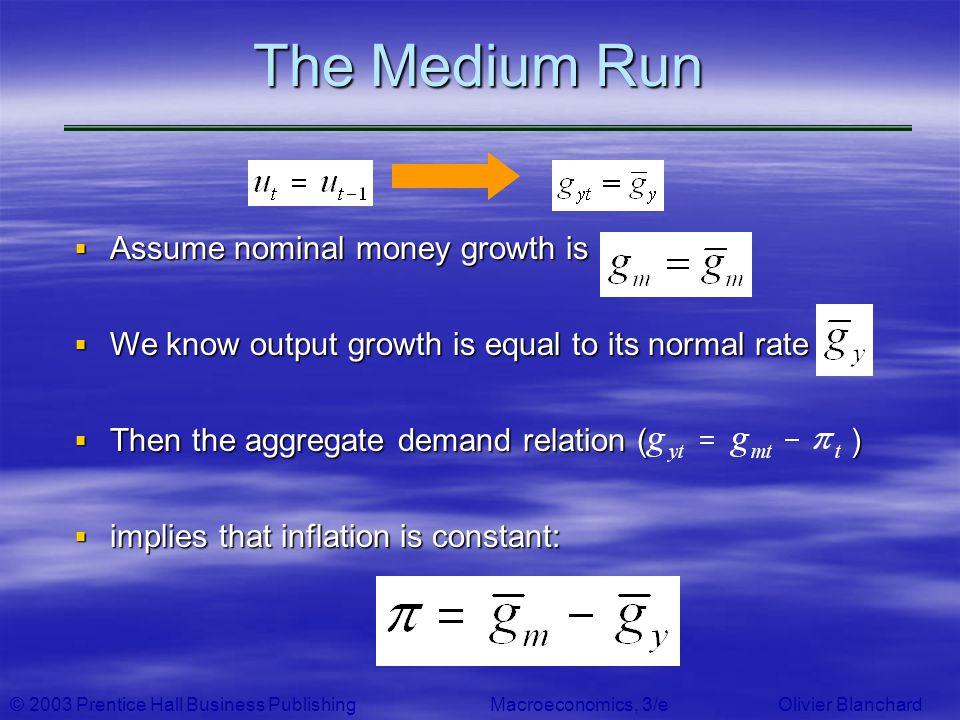 The Medium Run Assume nominal money growth is