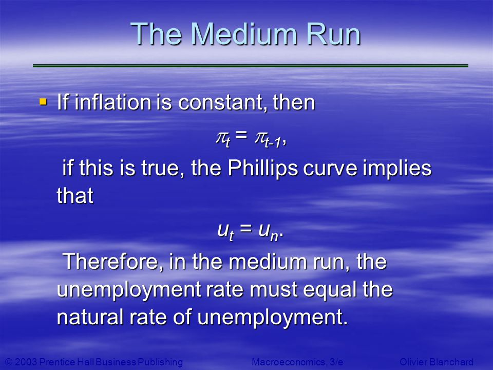 The Medium Run If inflation is constant, then t = t-1,