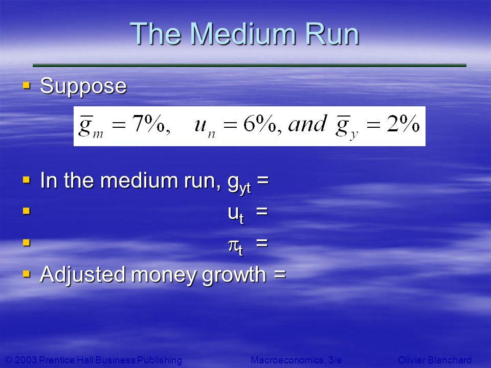 The Medium Run Suppose In the medium run, gyt = ut = pt =