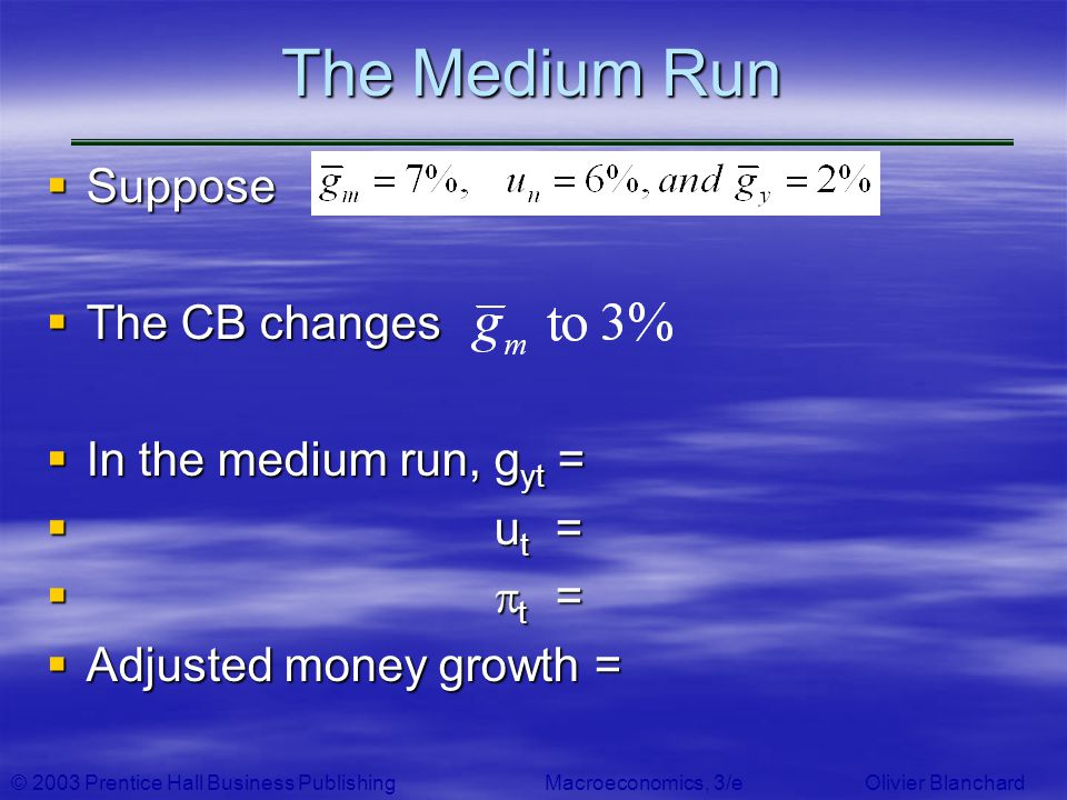 The Medium Run Suppose The CB changes In the medium run, gyt = ut =