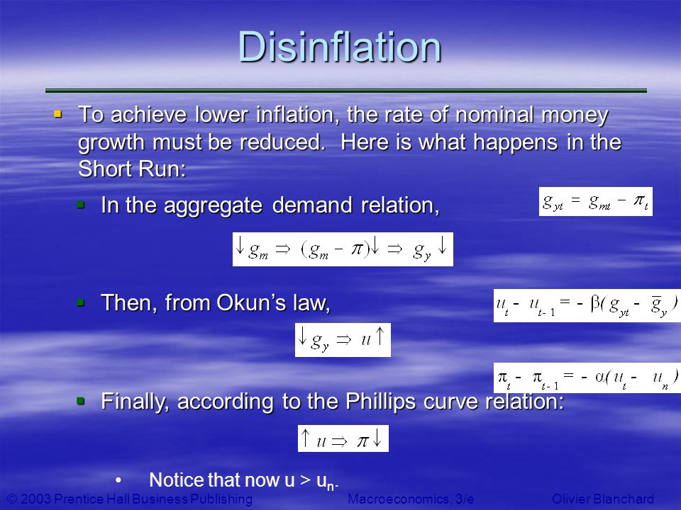 Disinflation To achieve lower inflation, the rate of nominal money growth must be reduced. Here is what happens in the Short Run:
