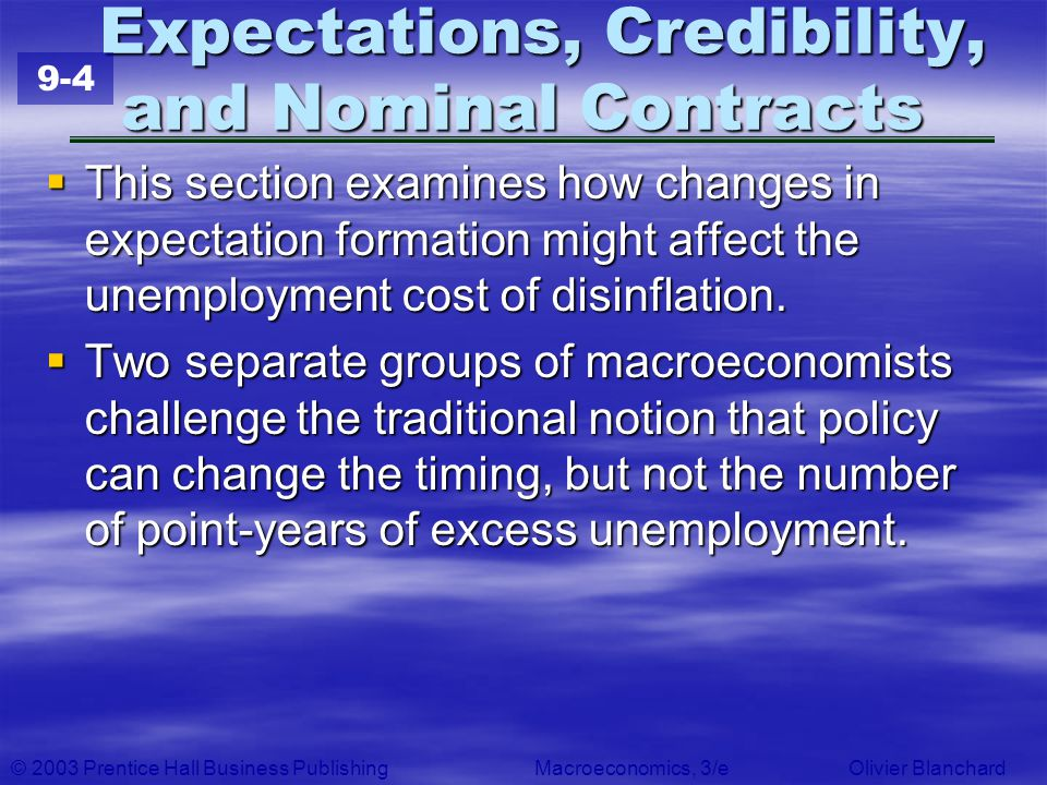 Expectations, Credibility, and Nominal Contracts