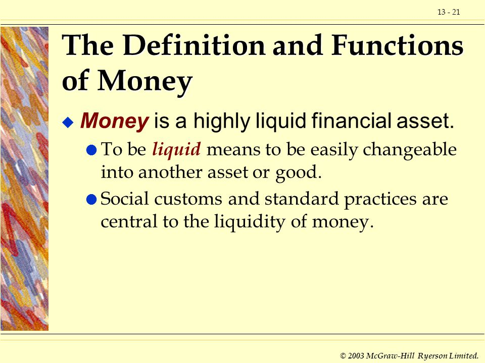 The Definition and Functions of Money