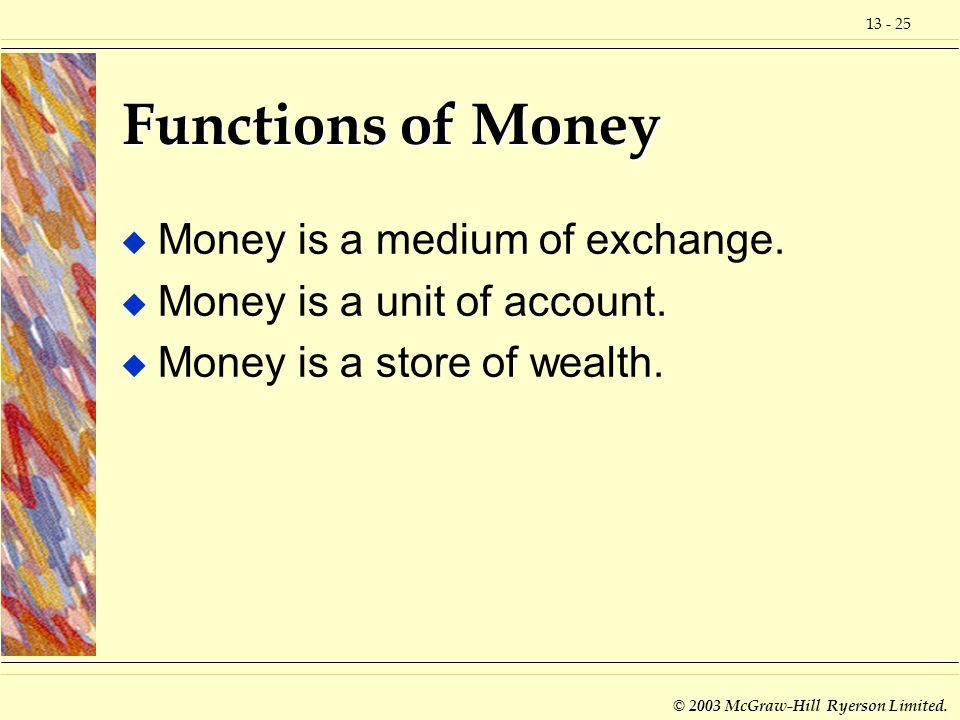 Functions of Money Money is a medium of exchange.