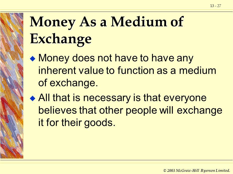 Money As a Medium of Exchange