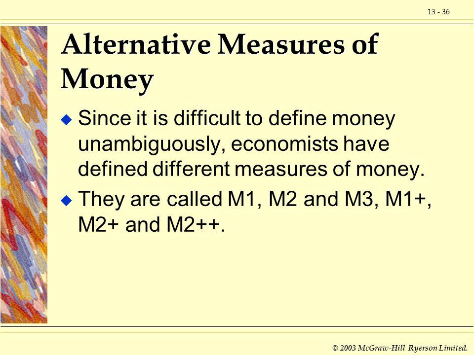 Alternative Measures of Money