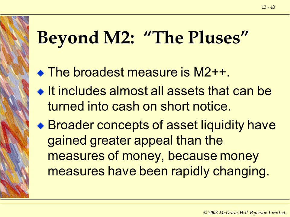 Beyond M2: The Pluses The broadest measure is M2++.