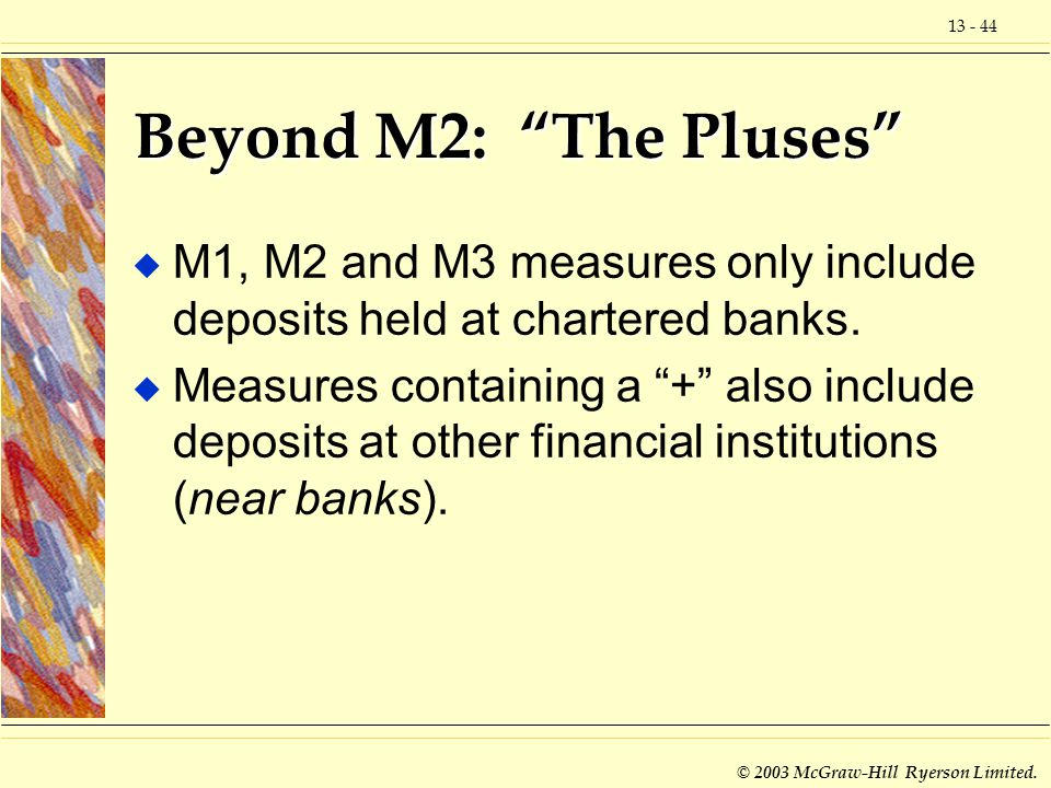 Beyond M2: The Pluses M1, M2 and M3 measures only include deposits held at chartered banks.