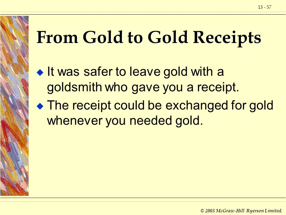 From Gold to Gold Receipts