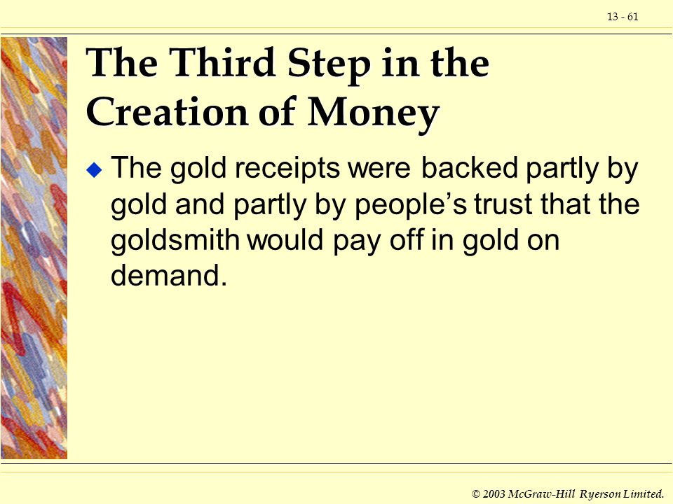 The Third Step in the Creation of Money