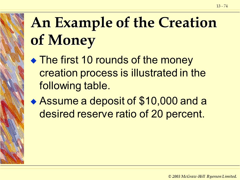 An Example of the Creation of Money