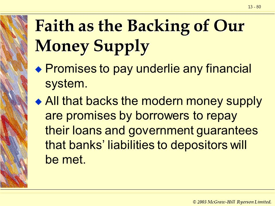 Faith as the Backing of Our Money Supply