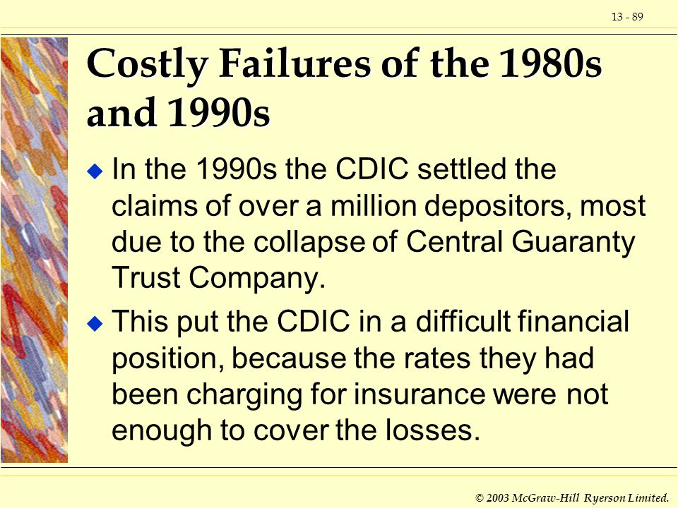 Costly Failures of the 1980s and 1990s