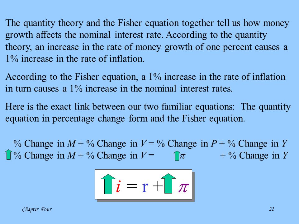 The quantity theory and the Fisher equation together tell us how money growth affects the nominal interest rate. According to the quantity theory, an increase in the rate of money growth of one percent causes a 1% increase in the rate of inflation.