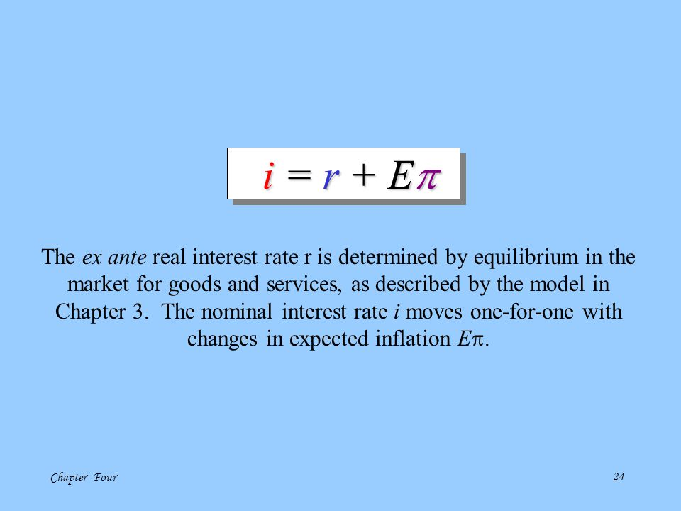 i = r + Ep The ex ante real interest rate r is determined by equilibrium in the. market for goods and services, as described by the model in.