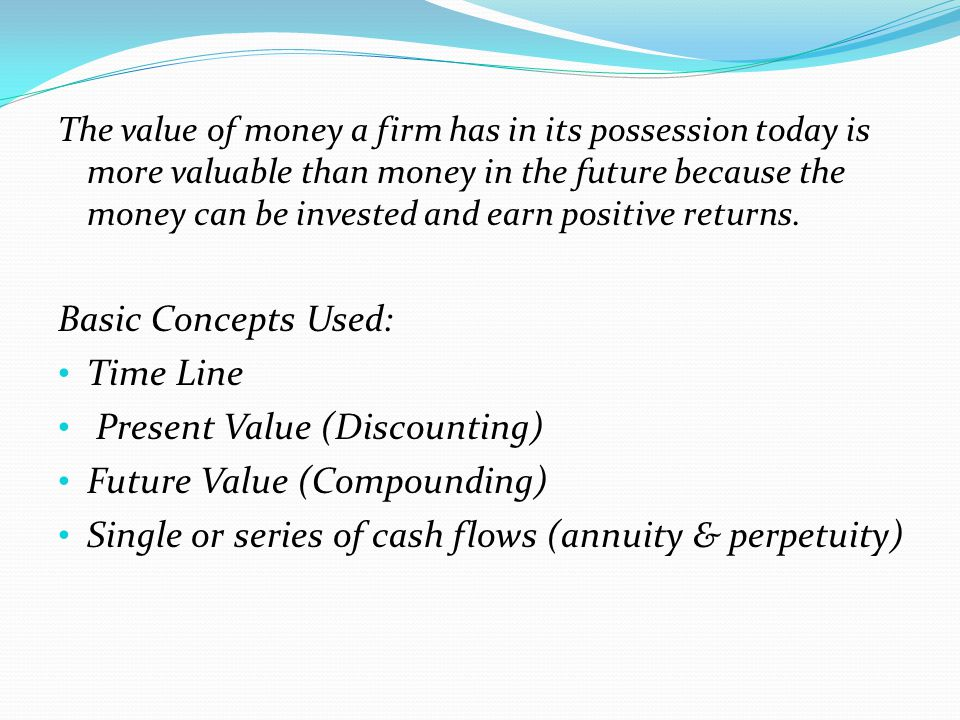 Present Value (Discounting) Future Value (Compounding)