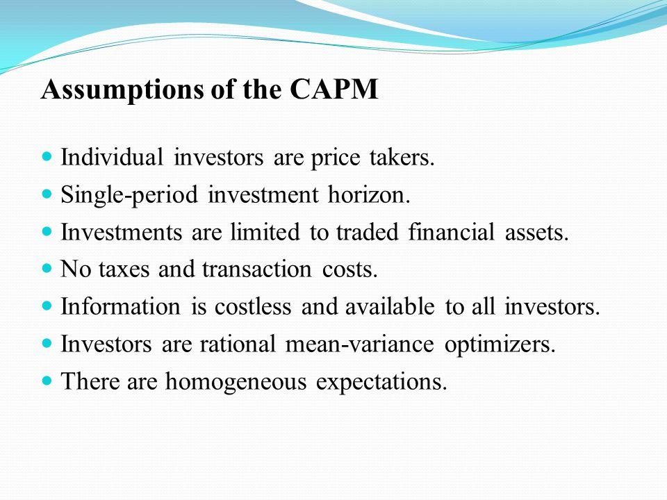 Assumptions of the CAPM