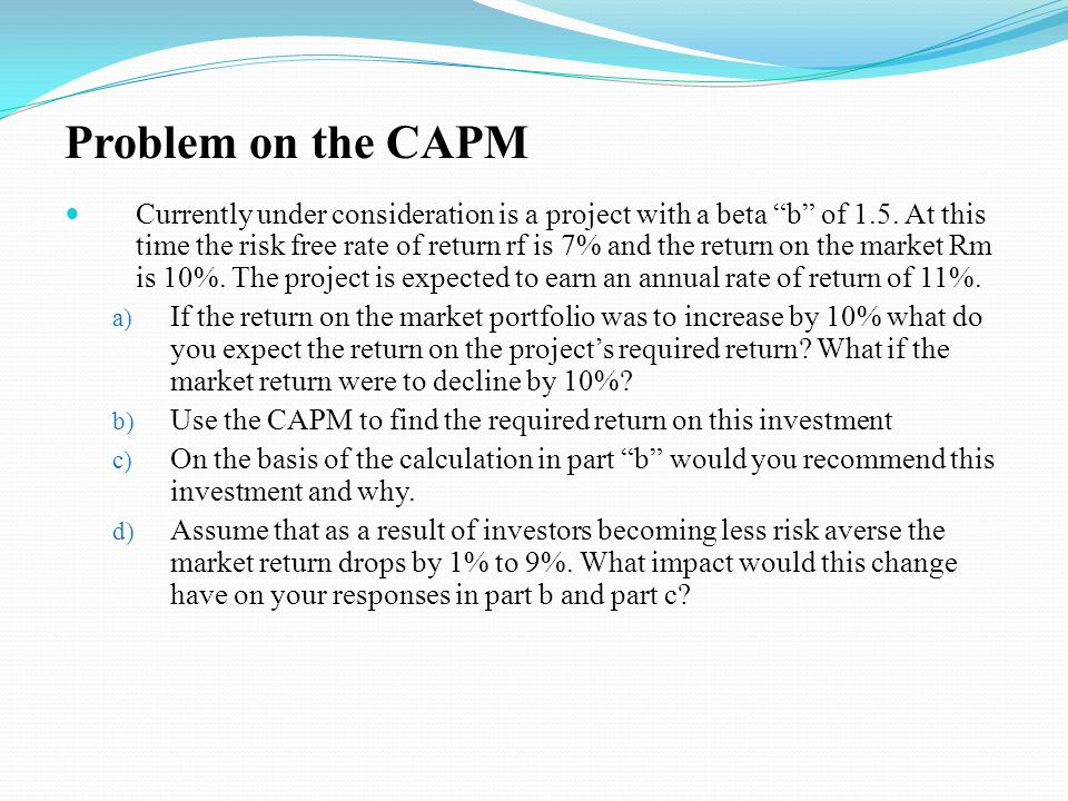Problem on the CAPM