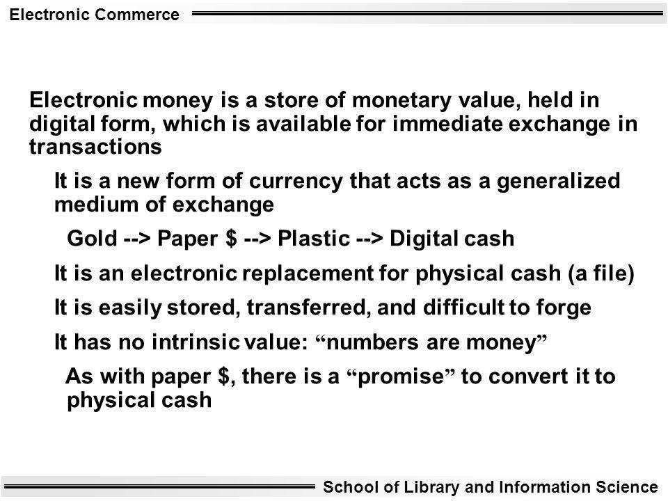 Electronic money is a store of monetary value, held in digital form, which is available for immediate exchange in transactions