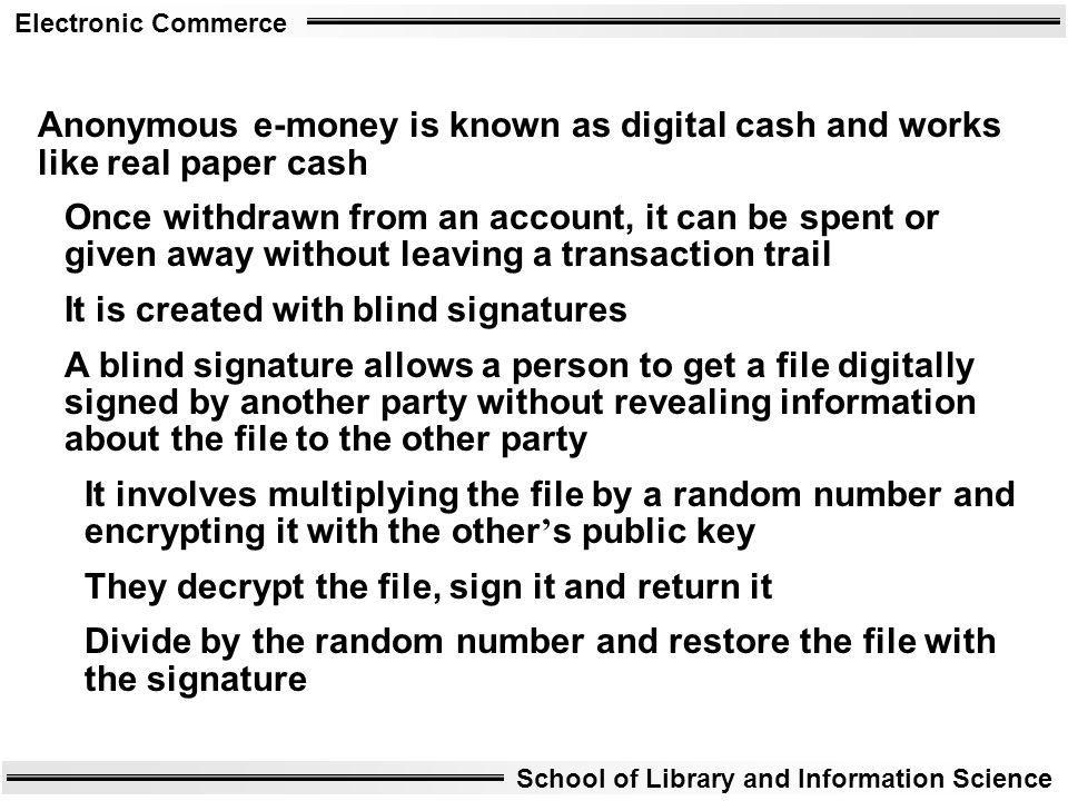Anonymous e-money is known as digital cash and works like real paper cash