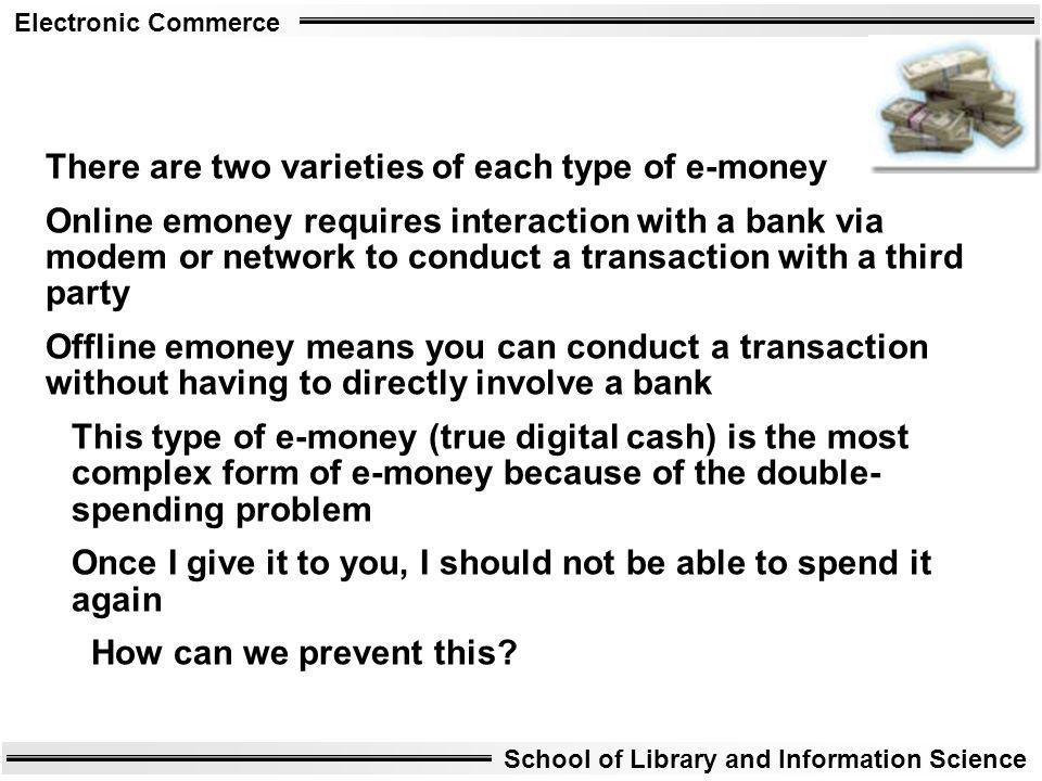 There are two varieties of each type of e-money