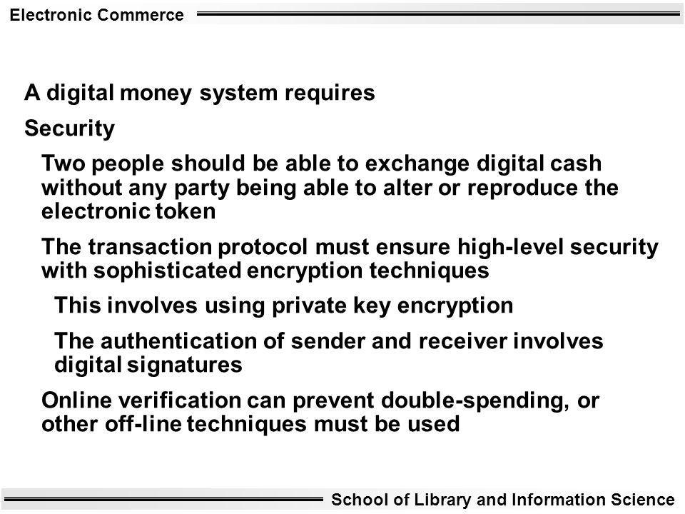 A digital money system requires