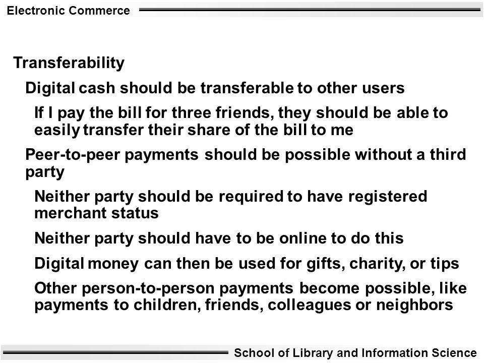 Transferability Digital cash should be transferable to other users.
