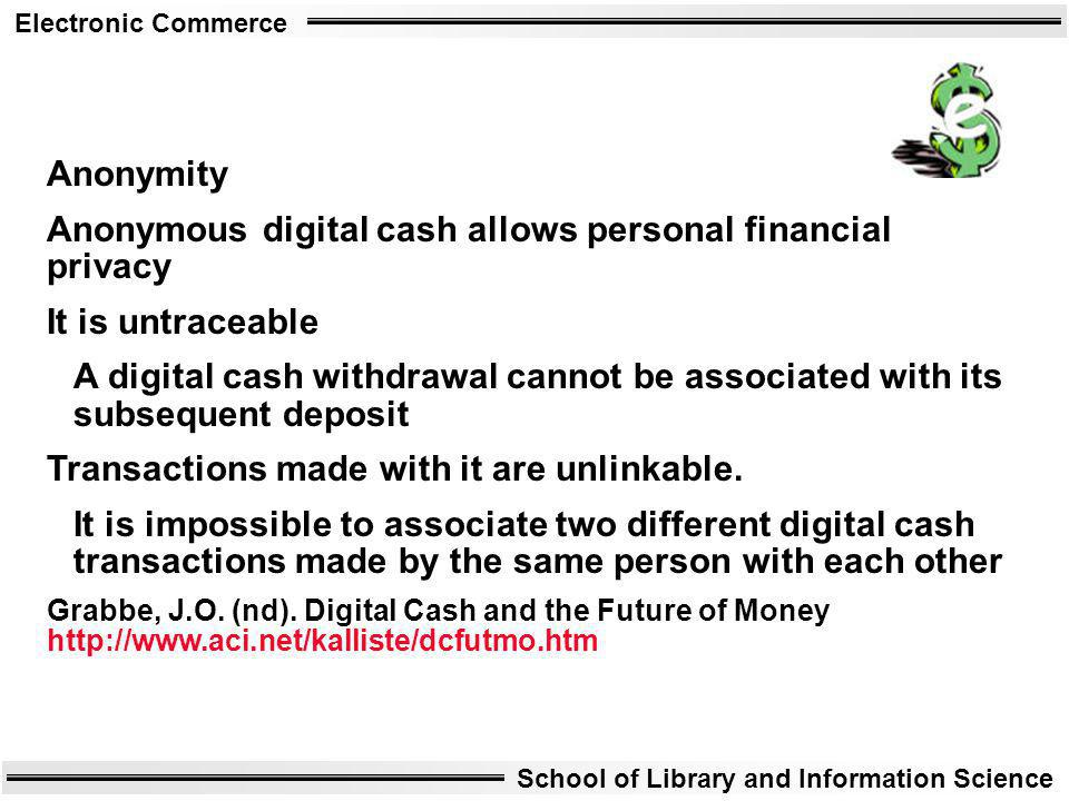 Anonymous digital cash allows personal financial privacy