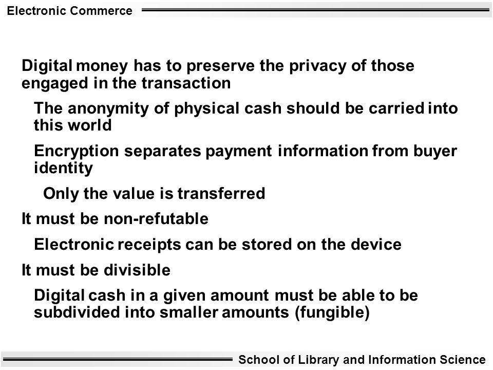 Digital money has to preserve the privacy of those engaged in the transaction