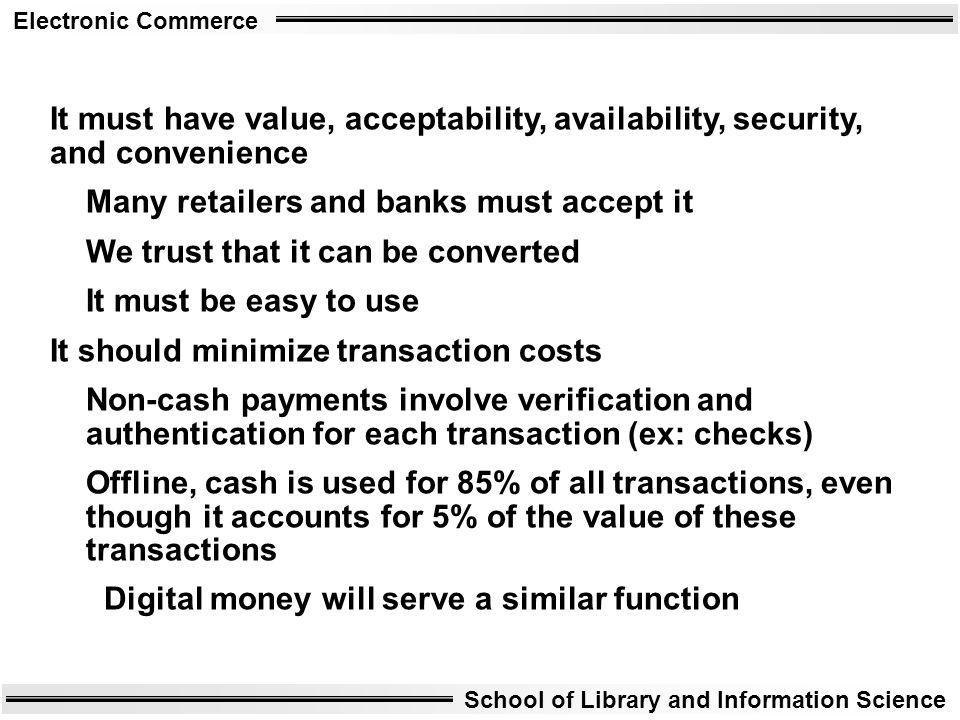 It must have value, acceptability, availability, security, and convenience