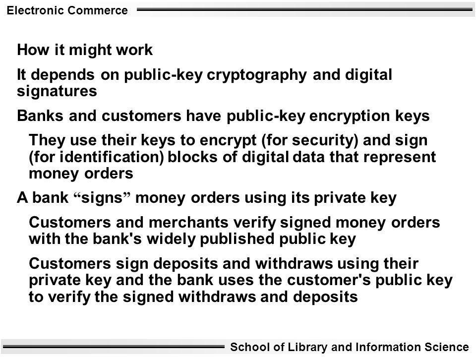 How it might work It depends on public-key cryptography and digital signatures. Banks and customers have public-key encryption keys.