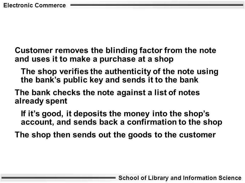 Customer removes the blinding factor from the note and uses it to make a purchase at a shop