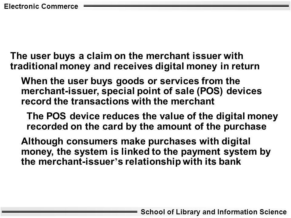 The user buys a claim on the merchant issuer with traditional money and receives digital money in return