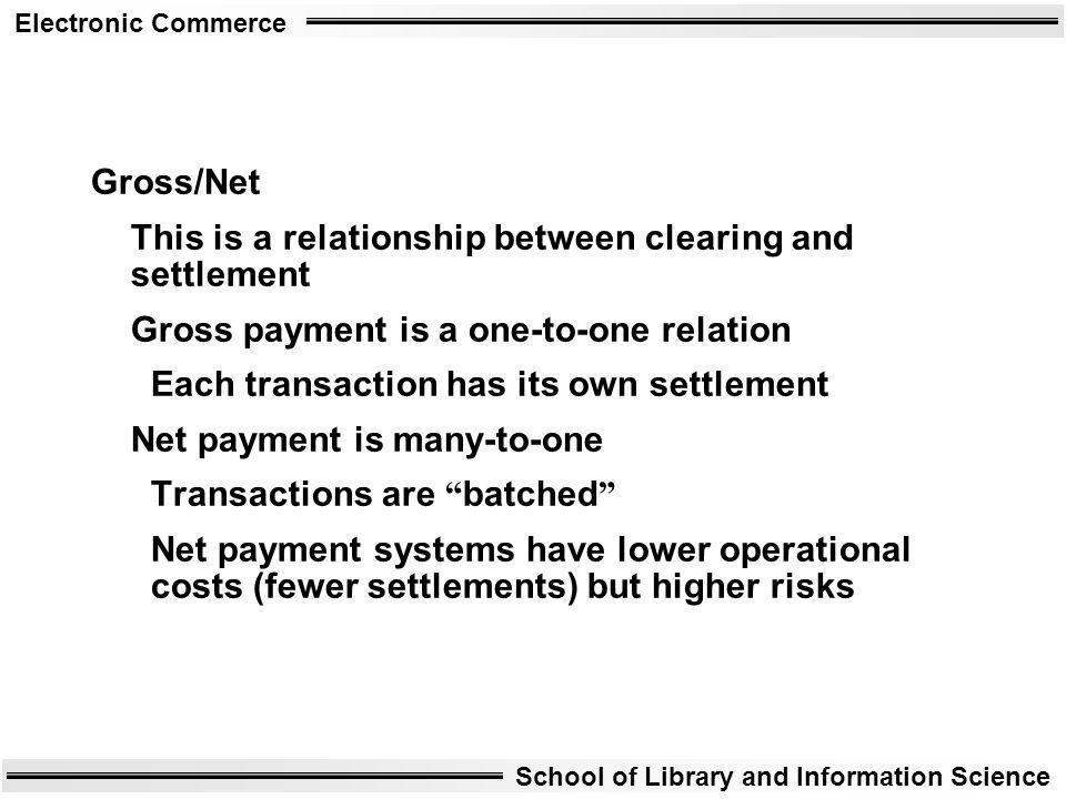 Gross/Net This is a relationship between clearing and settlement. Gross payment is a one-to-one relation.
