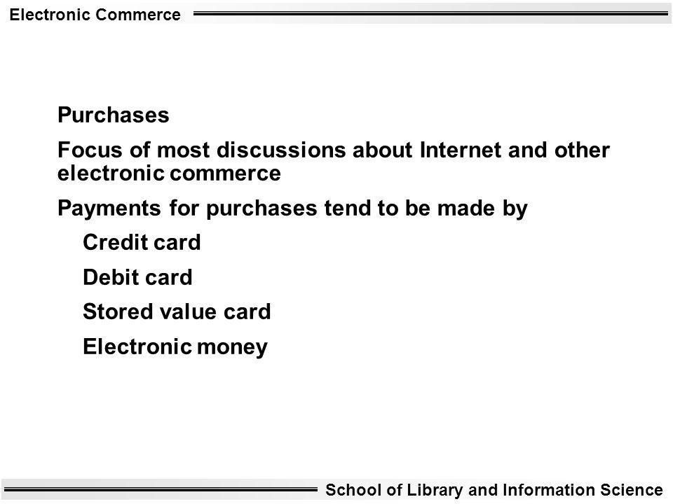 Purchases Focus of most discussions about Internet and other electronic commerce. Payments for purchases tend to be made by.