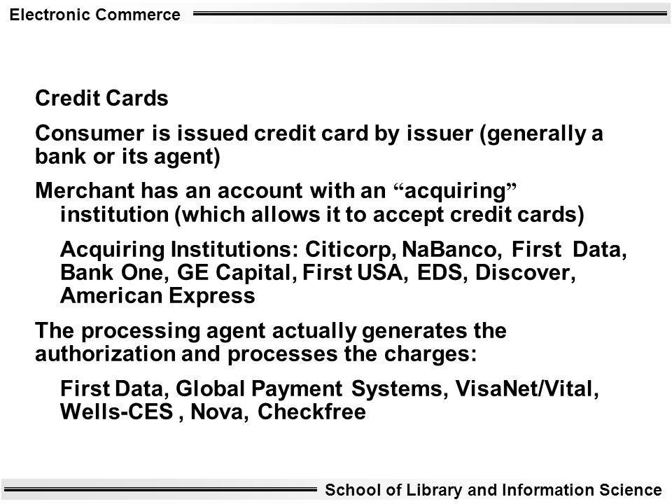 Credit Cards Consumer is issued credit card by issuer (generally a bank or its agent)