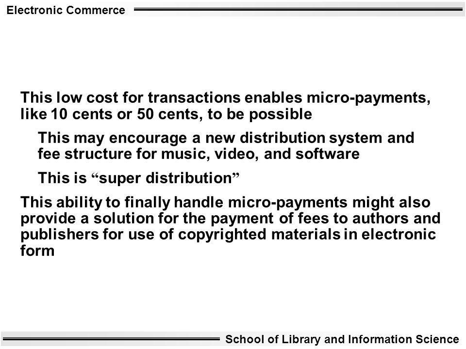 This low cost for transactions enables micro-payments, like 10 cents or 50 cents, to be possible