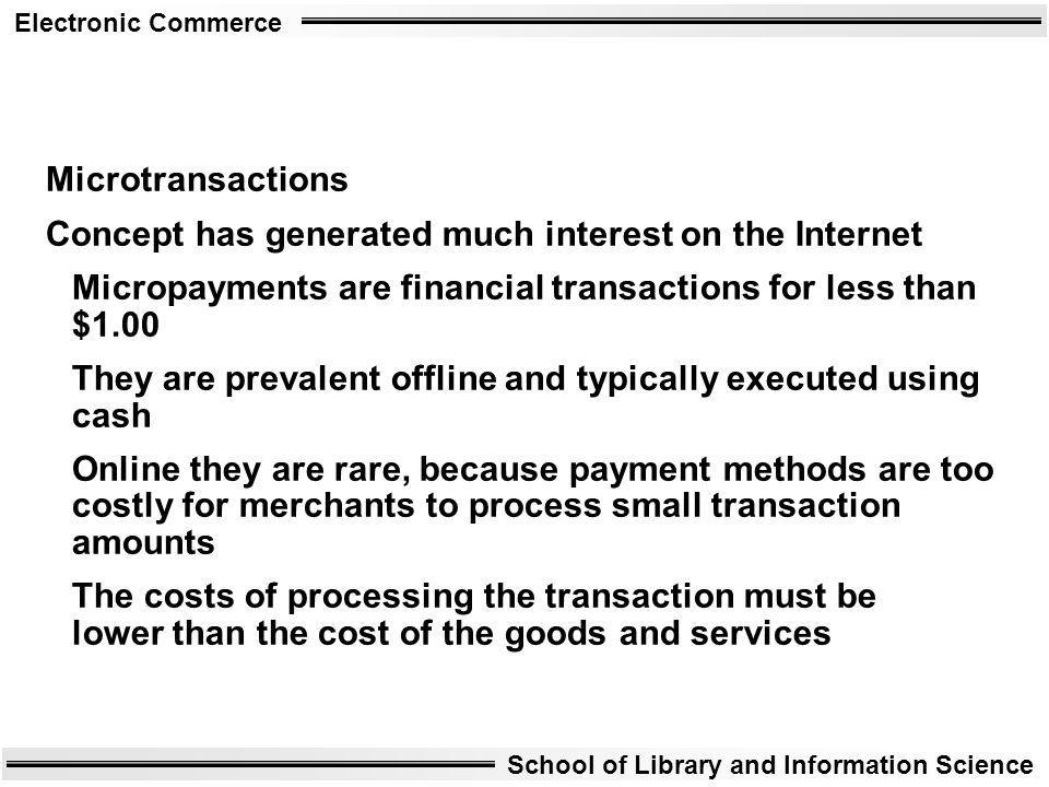 Microtransactions Concept has generated much interest on the Internet. Micropayments are financial transactions for less than $1.00.