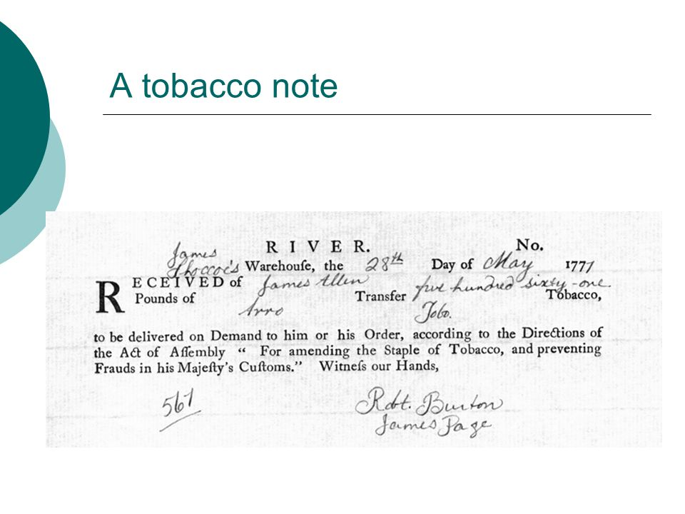 A tobacco note