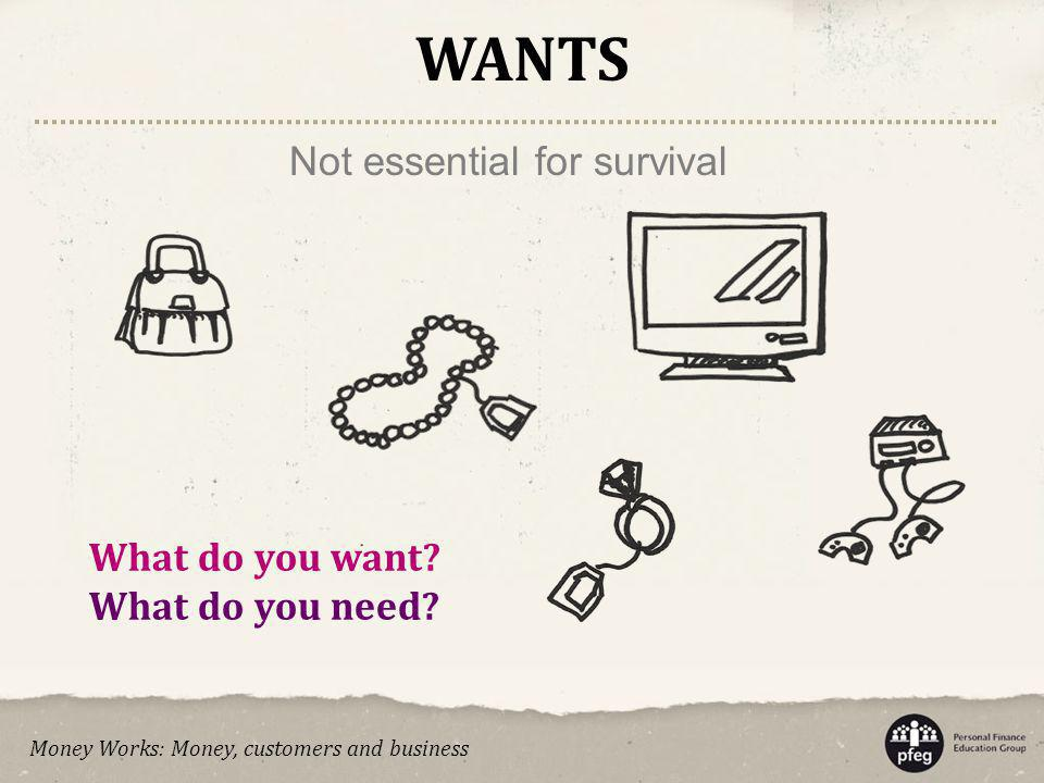 WANTS Not essential for survival What do you want What do you need