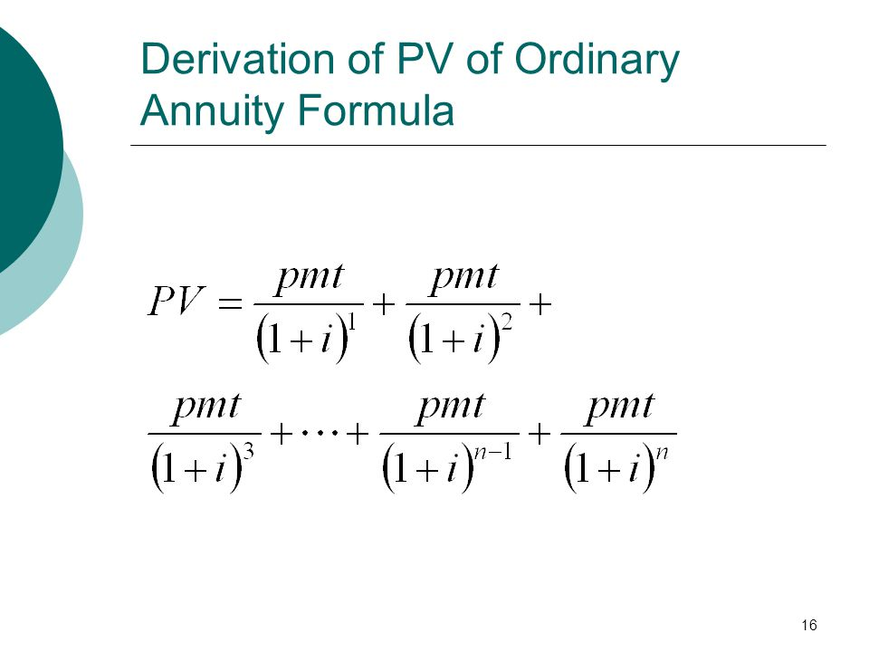 Derivation of PV of Ordinary Annuity Formula