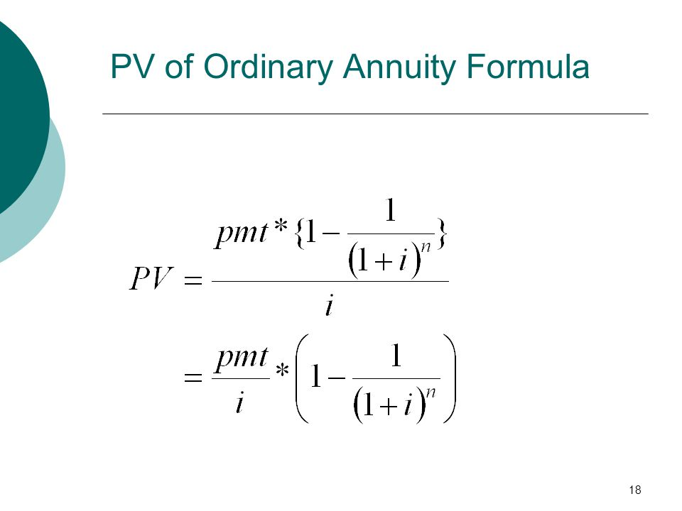 PV of Ordinary Annuity Formula