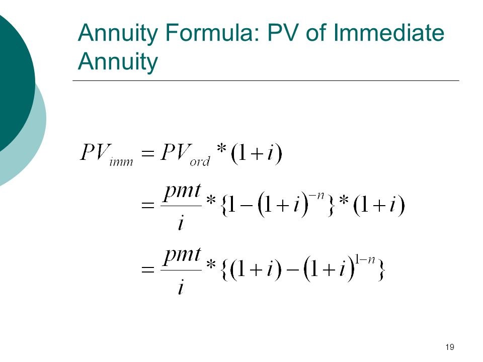 Annuity Formula: PV of Immediate Annuity