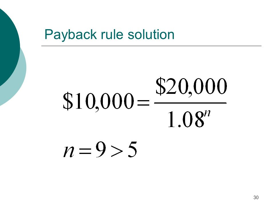 Payback rule solution