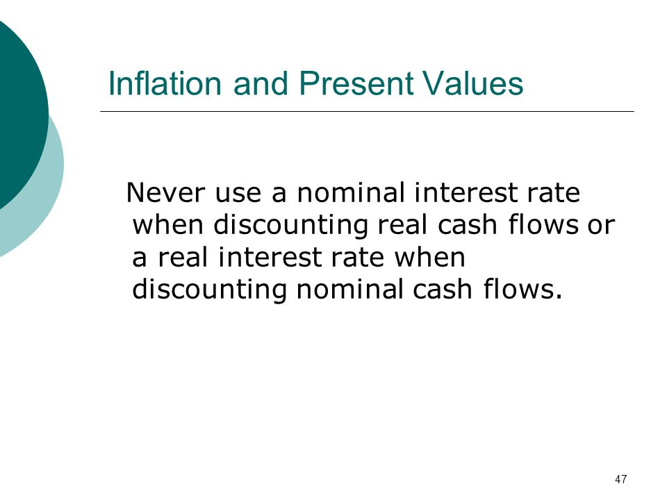 Inflation and Present Values